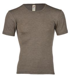 Wol/zijden heren shirt, walnut, Engel-Natur