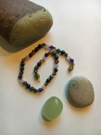 Barnsteen ketting baby/peuter (32cm), amethyst, rozenquartz, Afrikaanse Jade