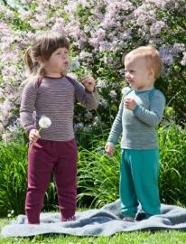 Engel wol/zijden baby longsleeve, Grijs/orchidee 74-104
