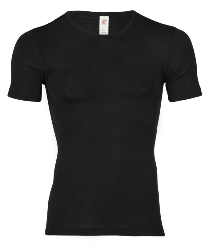 Wol/zijden heren shirt, zwart,  Engel-Natur