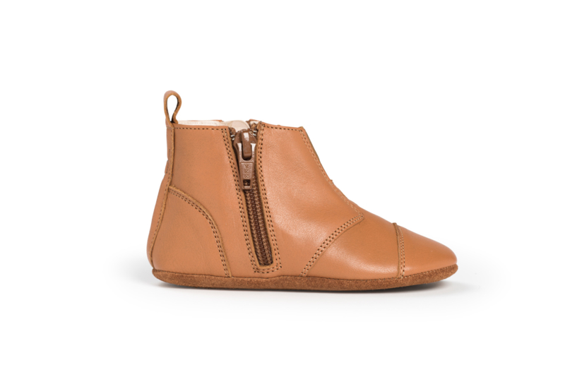 dusq first step shoes   leather- sunset cognac