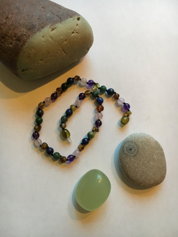 Barnsteen ketting volwassene/tiener, amethyst, rozenquartz, Afrikaanse Jade
