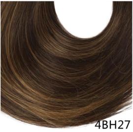 "Wrap Around Ponytail - Premium Synthetic Fiber 22"" Straight (#4BH27 Deep dark brown/ light brown highlight ) Light golden brown)"