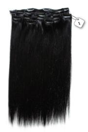 Clip in Extensions (Steil) 45cm  (Extra Volume), kleur #1
