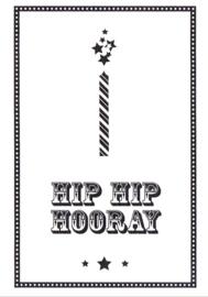 Ansichtkaart 'Hip hip hooray' (kaarsje)