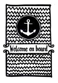 Ansichtkaart 'Welcome on board'