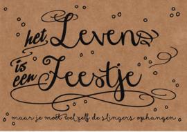 Ansichtkaart 'Het leven is een feestje, maar ...'