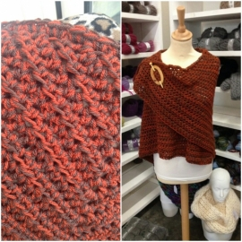 Scarf orange / brown, without fringes - to order