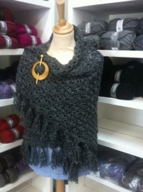 Scarf dark grey gemeleerd - to order