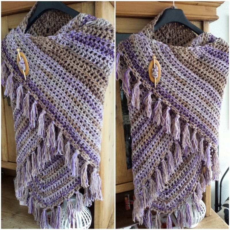 Scarf purple gemêleerd, double thread - to order