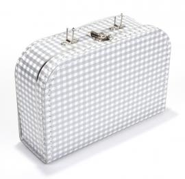 Kinderkoffertje Medium zilver/wit ruit 25 cm x 18 cm x 9 cm