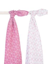 Jollein - Hydrofiel multidoek Graphic Mauve- Pink (2-pack) 115 x 115 cm