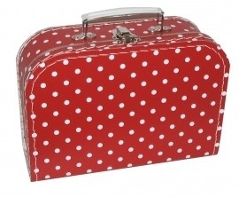 Kinderkoffertje Medium rood polkadot 25 cm  x 18 cm  x 9 cm