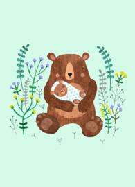 Petit Monkey- Ansichtkaart - Geboorte- Baby beer