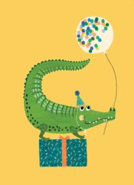 Petit Monkey- Ansichtkaart - Party krokodil