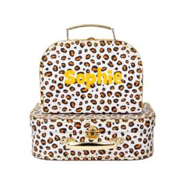 Sass & Belle - Leopard- Kofferset van 2 - Met Naam