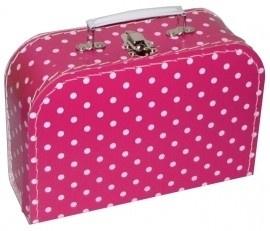 Kinderkoffertje Medium fuchsia polkadot 25 cm  x 18 cm  x 9 cm