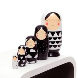 Petit Monkey - Black & White - Nesting Dolls
