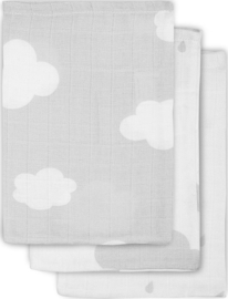 Jollein- Hydrofiel washandjes Clouds Grey (3pack)