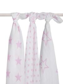 Jollein - Hydrofiel multidoek Litle Star Pink (3-pack) 115 x 115 cm