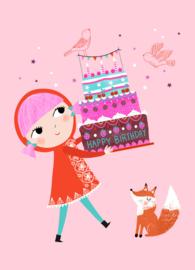 Petit Monkey- Ansichtkaart - Happy Birthday Cake