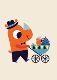 Petit Monkey- Ansichtkaart Neushoorn- Geboorte Jongen