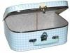 Kinderkoffertje Medium lichtblauw/wit ruit 25 cm  x 18 cm  x 9 cm