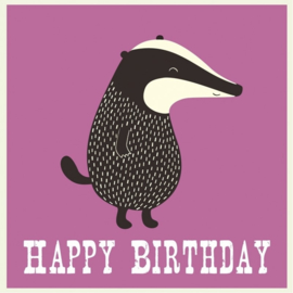 Verjaardagskaart - Happy Birthday - Badger