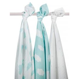 Jollein - Hydrofiel multidoek Clouds Jade Mint (3-pack) 115 x 115 cm