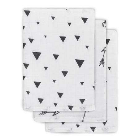 Jollein - Hydrofiel washandjes Indians black and white (3pack)