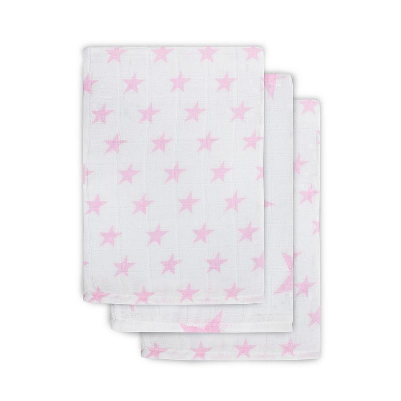 Jollein - Hydrofiel washandjes Little star Pink (3pack)