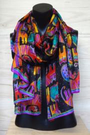 sjaal zwart-multicolor poezenprint