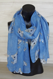 Sjaal blauw met katjes