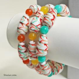 Set armbanden van lampwork kralen en natuursteen