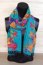 sjaal blauw met honden en poezen