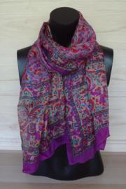 zijden sjaal paars met olifantjesprint