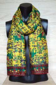 zijden sjaal geel met valkenjacht figuurtjes