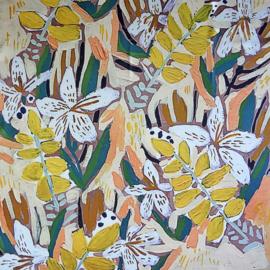 sjaaltje, bandana, bloemen geel