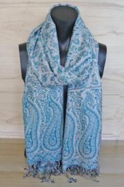 sjaal zeegroen-wit double faced