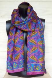 zijden sjaal roze met blaadjes