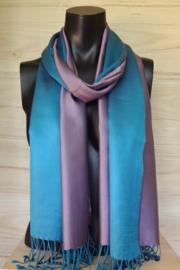Zijden sjaal lila/aquablauw