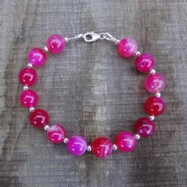 Armband van roze agaat