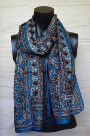 zijden sjaal petrol blauw met blad