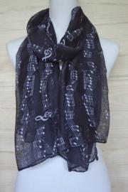 sjaal zwart met muzieknoten