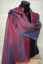 zijden sjaal reversible rood/aqua blauw