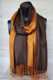 Zijden sjaal oranje/bruin