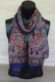 zijden sjaal donkerblauw met olifantjes