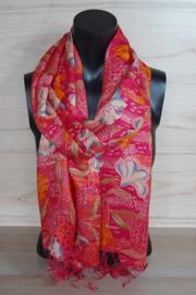 sjaal rood met tropische bloemen