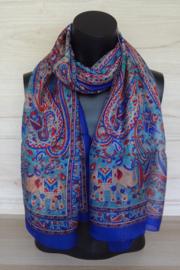sjaal koningsblauw paisley met olifantjes