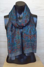 zijden sjaal multicolor donkergrijs